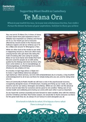 Example of Te Mana Ora Newsletter.