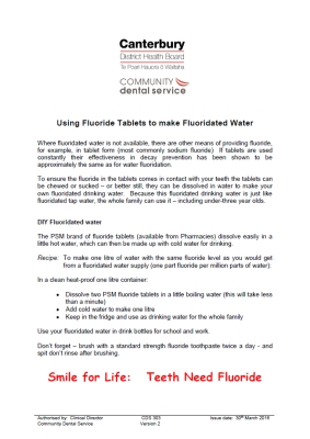 Using Fluoride Tablets to make Fluoridated Water
