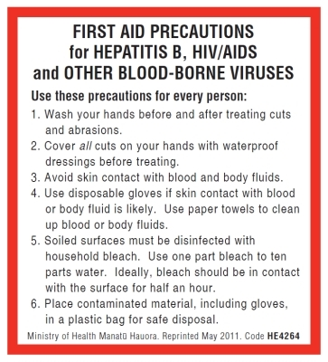 First Aid Precautions: Hepatitis B/AIDS