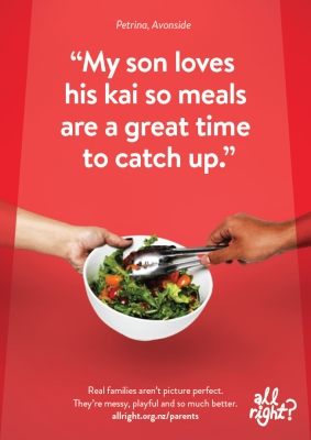 Parents: My son loves his kai so meals are a great time to catch up