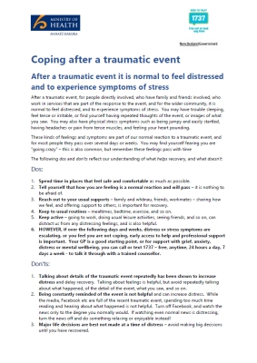 Coping after a traumatic event
