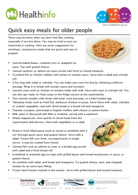 Quick easy meals for older people