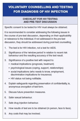 Voluntary Counselling and Testing for Diagnosis of HIV Infection