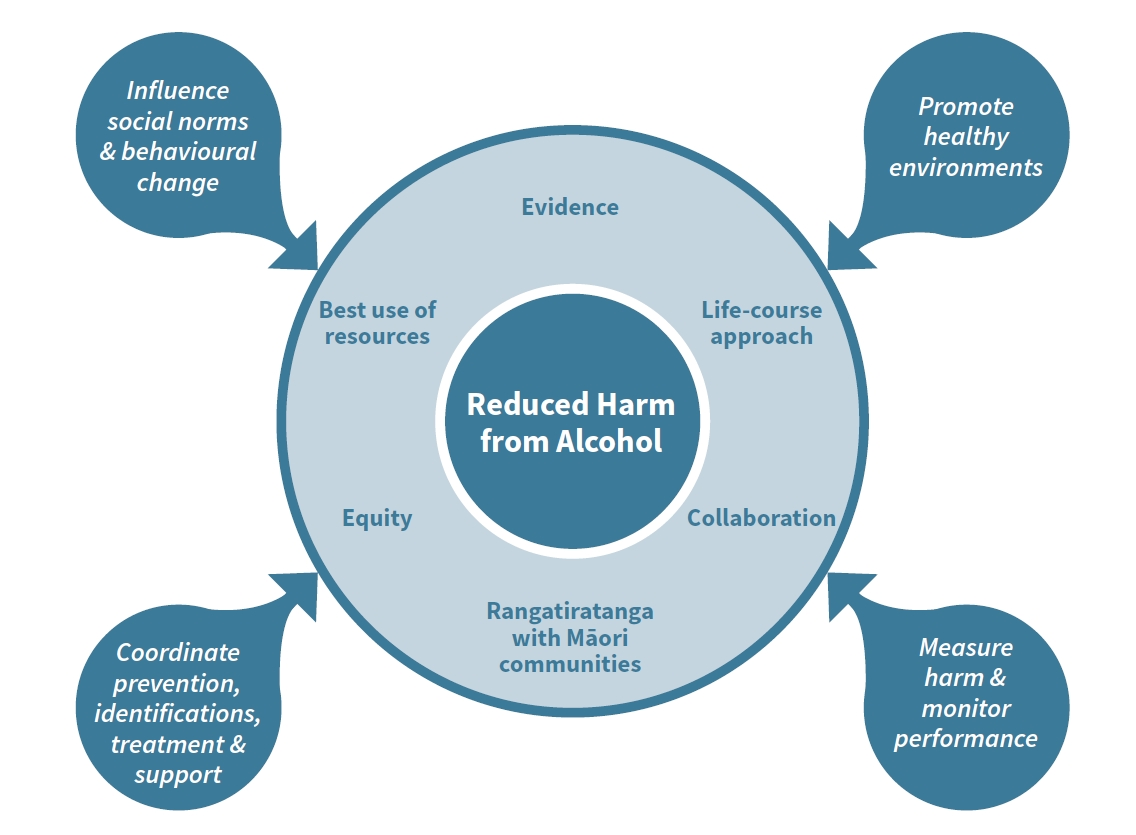 The framework of the Canterbury Health System Alcohol-related Harm Reduction Strategy.