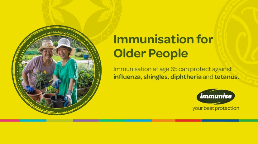 Immunisaton for Older People: Immunisation at age 65 can protect against influenza, shingles, diphtheria and tetanus.