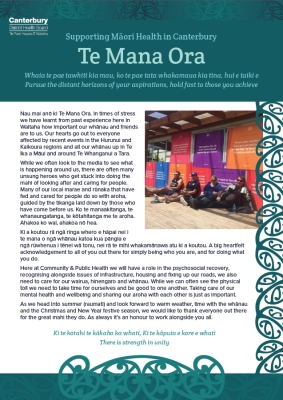 Example of Te Mana Ora Newsletter.