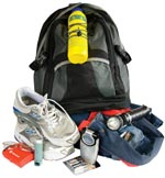 Example of a getaway kit if you need to leave home or work in a hurry.