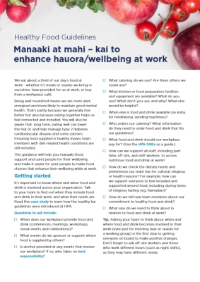 Manaaki at mahi Healthy Food Guidelines