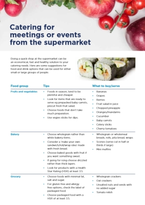 Catering for meetings or events from the supermarket