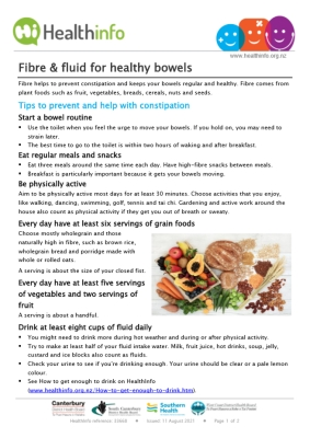 Fibre and fluid for healthy bowels